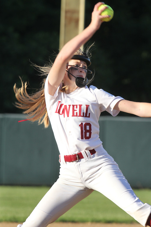 . Lowell vs Boston Latin softball in MIAA tournament. Lowell pitcher Giana Lacedra (18). (SUN/Julia Malakie)