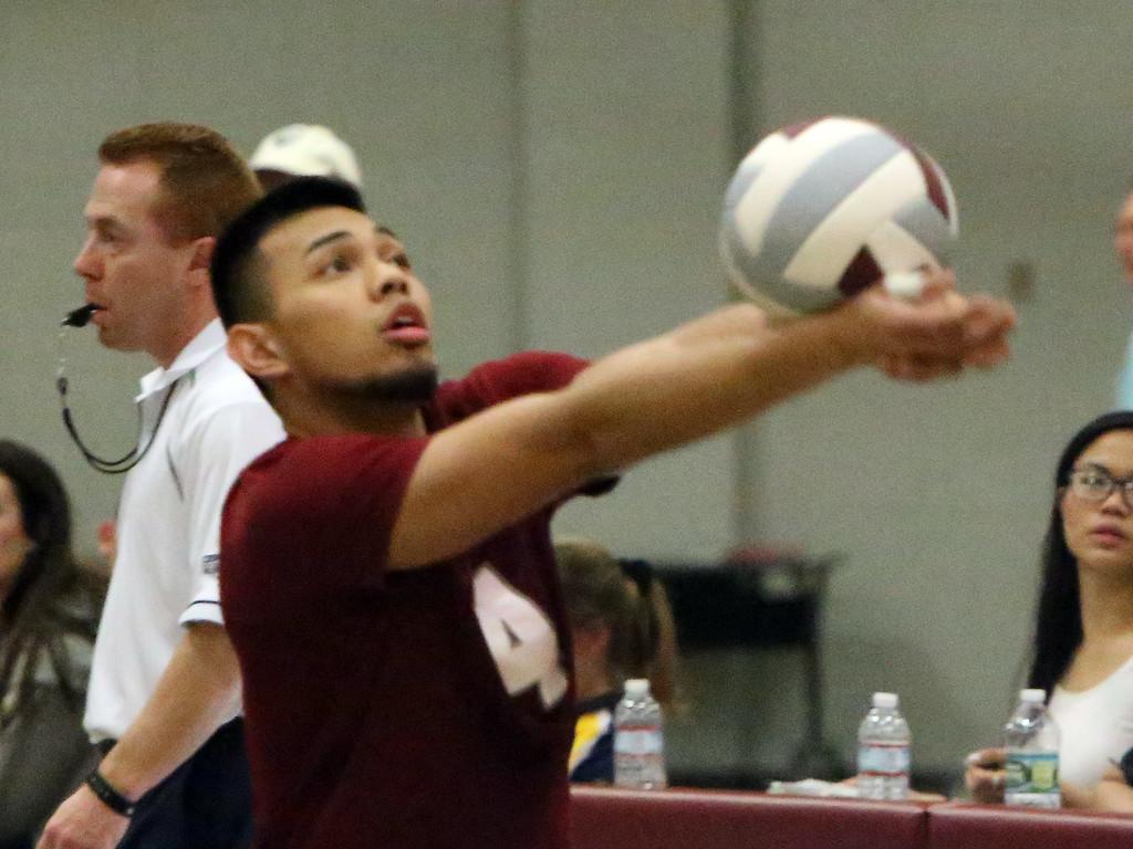 . Lowell vs Greater Lowell boys volleyball. Lowell\'s Somol Teng (4). (SUN/Julia Malakie)