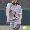 Lowell vs Westford Academy softball. WA starting pitcher Emily Strzegowski (15). (SUN/Julia Malakie)