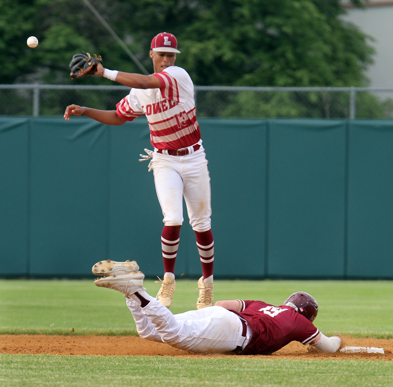 . Lowell vs BC High in MIAA baseball Division 1A tournament. BC High baserunner Pat Roche dives back safely to second as Lowell shortstop Raymond Velazquez fields the throw. (SUN/Julia Malakie)