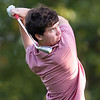 Lowell vs Tyngsboro golf. Tyngsboro's Kevin Carpenter hits tee shot on 6th hole, (SUN/Julia Malakie)