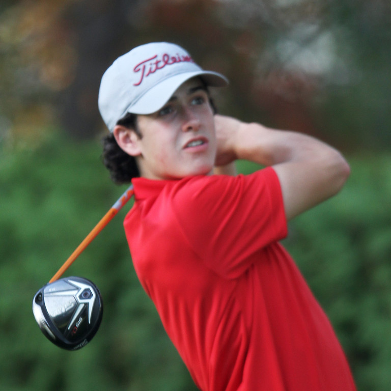 . Lowell vs Tyngsboro golf. Lowell\'s Matt Asselin hits tee shot on 8th hole. (SUN/Julia Malakie)