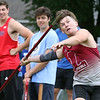 MVC track & field championships. Ethan Hoey of Lowell competes in javelin. SUN/Julia Malakie