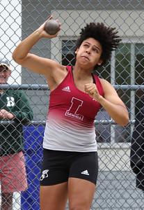 MVC track & field championships. Veronica Jones of Lowell competes in shot put.  SUN/Julia Malakie