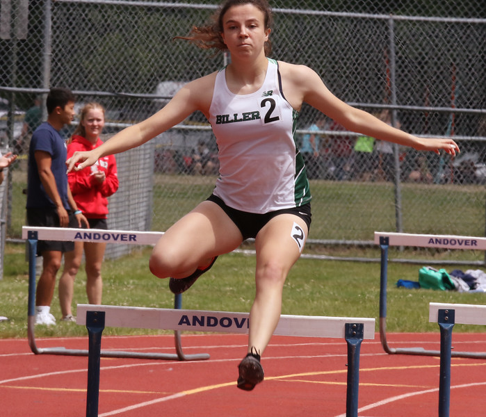 MVC track & field championships. Lauren Montion of Billerica competes in a heat of the 400M hurdles.  SUN/Julia Malakie