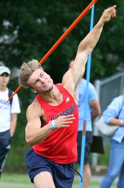 "MVC track & field championships. Derek Munroe of Tewksbury throws 158'4"" in the javelin.  SUN/Julia Malakie"