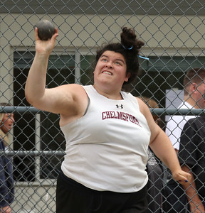 MVC track & field championships. Kathleen Dolan of Chelmsford competes in shot put.  SUN/Julia Malakie