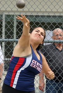 MVC track & field championships. Kelsey Perez of Central Catholic competes in shot put.  SUN/Julia Malakie