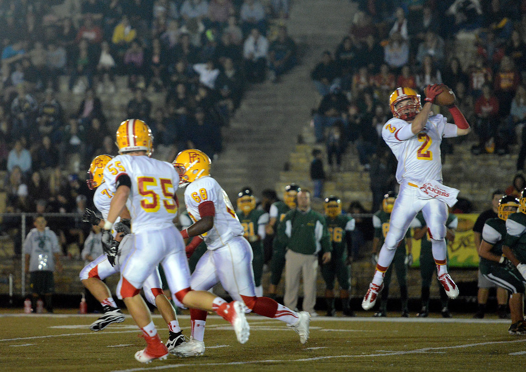 . Pacific Grove\'s Forest Compton reels in a pass during football in Monterey, Calif. on Friday September 20, 2013.  (Photo David Royal/ Monterey County Herald)
