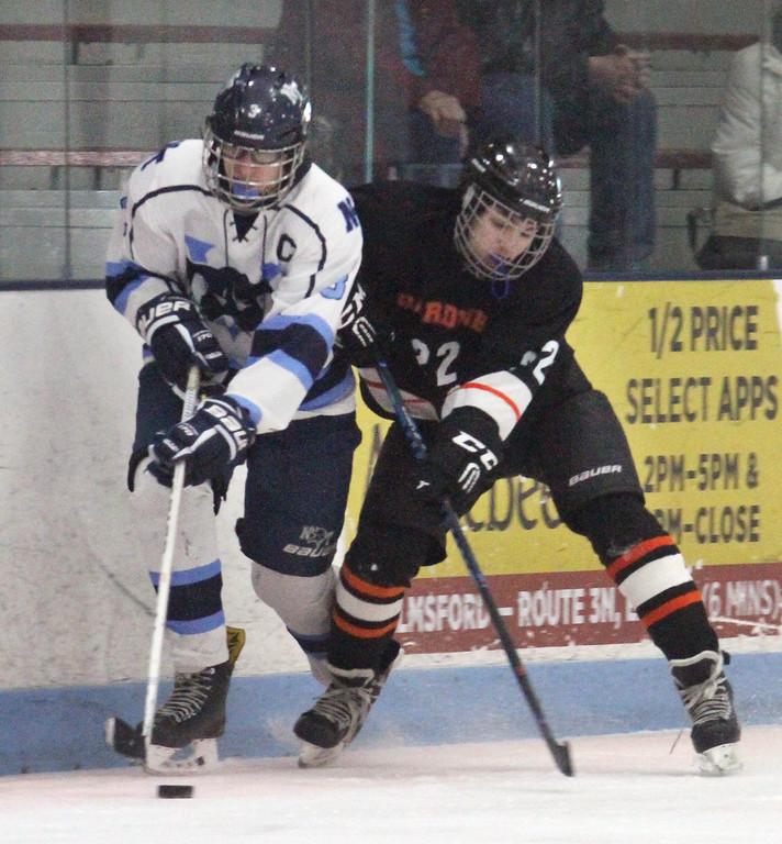 . Nashoba Tech vs Gardner boys hockey. Nashoba Tech\'s Caleb Ackerman (3) and Gardner\'s Josh Garrity (22).  (SUN/Julia Malakie)