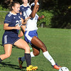 Pelham vs Windham girls soccer. Windham's Grace Harootian (20) and Pelham's Cheyenne Lee (18). (SUN/Julia Malakie)