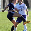 Pelham vs Windham girls soccer. Windham's Grace Harootian (20) and Pelham's Madison Burke (17). (SUN/Julia Malakie)