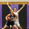 Shawsheen Tech vs Essex Tech girls basketball. Essex's Riley Mannion (23) and Shawsheen's Katie Amidon (22). (SUN/Julia Malakie)