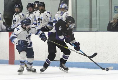 Shawsheen Tech vs Greater Lowell/Nashoba Tech boys hockey. GLNT's Dan Haluska (14) and Shawsheen Tech's Chris Melo (9).  (SUN/Julia Malakie)
