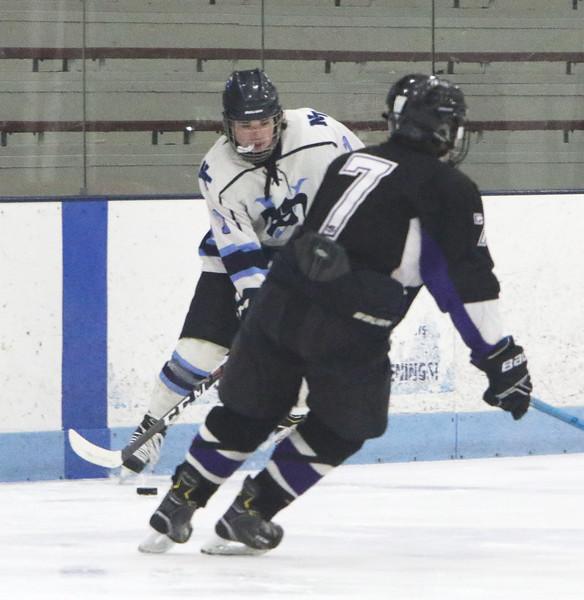 Shawsheen Tech vs Greater Lowell/Nashoba Tech boys hockey. GLNT's Dylan Stoia (7), left, and Shawsheen's Chance Fitzgerald (7), right.  (SUN/Julia Malakie)