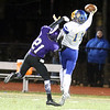 Shawsheen Tech vs Assabet Valley football.  Shawsheen's Connor Rich (21), and Assabet's Jacob Nelson (11), who hung onto the pass. (SUN/Julia Malakie)