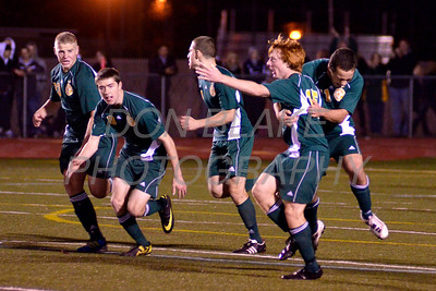 St. Mark's celebrates after scoring a goal during the Boys State Soccer Championship at Caravel Academy, Saturday, November 19, 2011. The Dialog/Don Blake
