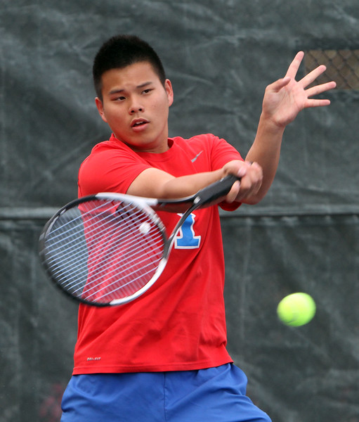 Tewksbury 2nd Singles Daryl Quek. Tewksbury vs Lowell boys tennis. (SUN/Julia Malakie)