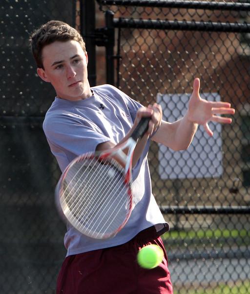 Lowell 1st Singles Jack Oakes. Tewksbury vs Lowell boys tennis. (SUN/Julia Malakie)