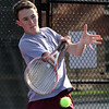 Lowell 1st Singles Jack Oakes. Tewksbury vs Lowell boys tennis. (SUN/Julia Malakie)