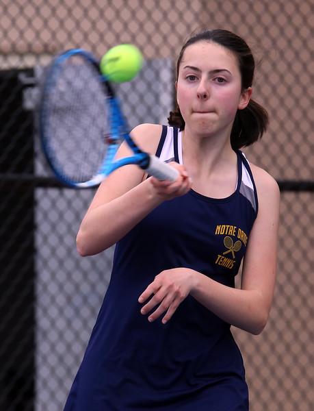 Tewksbury vs Notre Dame Academy girls tennis. NDA 1st Singles Hannah McLeod (sp?).  (SUN/Julia Malakie)