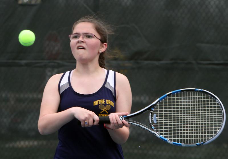 Tewksbury vs Notre Dame Academy girls tennis. NDA 3rd Singles Sarah Houston. (SUN/Julia Malakie)