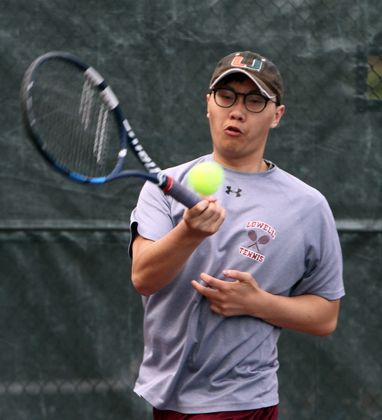 Lowell 2nd Singles John Phan.Tewksbury vs Lowell boys tennis. (SUN/Julia Malakie)