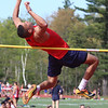 "Tewksbury vs North Andover girls and boys track & field. Tewksbury's Masyn Lorick clears 6'6"" in High Jump. (SUN/Julia Malakie)"