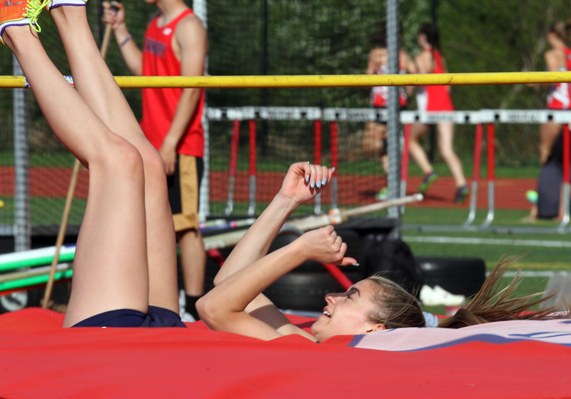 Tewksbury vs North Andover girls and boys track & field. Cassidy Gruning of Tewksbury in High Jump. (SUN/Julia Malakie)