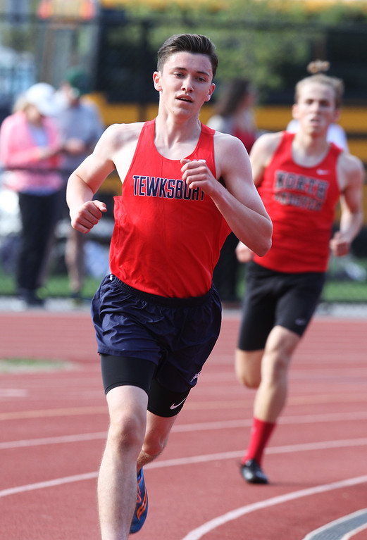 . Tewksbury vs North Andover girls and boys track & field. Pat Carleton of Tewksbury in 2 Mile. (SUN/Julia Malakie)