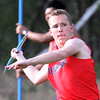 Tewksbury vs North Andover girls and boys track & field. Mike Kelleher of Tewksbury throws javelin 62ft. (SUN/Julia Malakie)