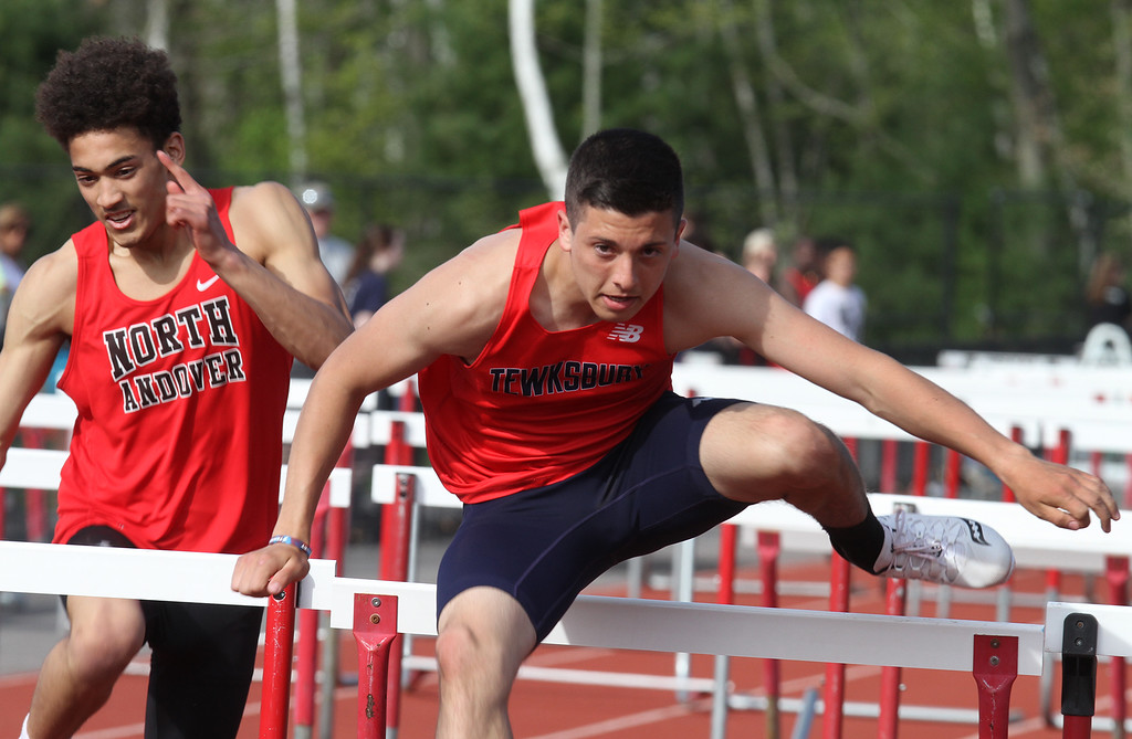 . Tewksbury vs North Andover girls and boys track & field. Steven Wilson of Tewksbury, winner of 110M hurdles in 15.5. (SUN/Julia Malakie)