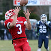 Tewksbury vs Wilmington Thanksgiving Day football. Tewksbury's Shane Aylward (3) catches pass on the way to scoring a TD for a 12-7 lead over Wilmington. (SUN/Julia Malakie)
