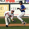 Tewksbury vs Methuen in Spinners Cup. Tewksbury second baseman Kyle Zervas (21) fields a ground ball to throw to first, as Methuen baserunner Jomari Rosa (20) heads to third. (SUN/Julia Malakie)