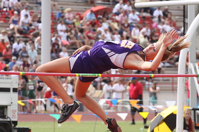 Danielle Spargur of Sunrise Mountain jumps at the State Track Meet - Division II finals.