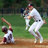 Tyngsboro vs Millbury baseball. Millbury's Mason Broyles (10) is out on a fielder's choice as Tyngsboro shortstop Chris Ausiello throws to first in the top of the sixth inning. (SUN/Julia Malakie)