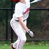 Tyngsboro vs Millbury baseball. Tyngsboro's Nolan Michaud (6) watches a high pop foul in the bottom of the fifth inning. (SUN/Julia Malakie)