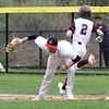 Tyngsboro vs Millbury baseball. Millbury's Sean Kelly (2) is out at first on a double play, Tyngsboro first baseman Phil Sutherland (11) fielding in the top of the second inning. (SUN/Julia Malakie)