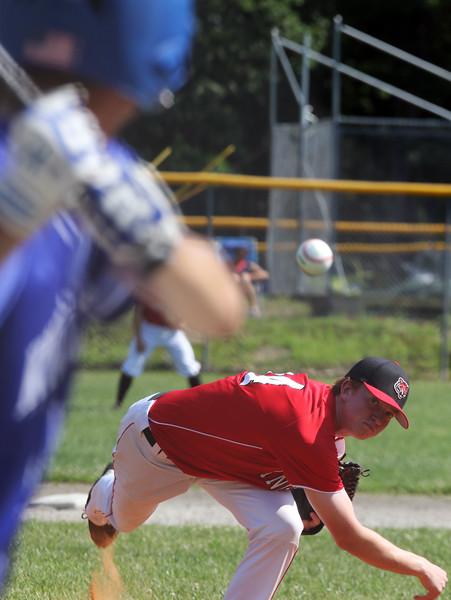 Tyngsboro vs Lunenburg baseball. Tyngsboro starting pitcher Brandon St. Gelais (14).  SUN/Julia Malakie
