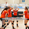The Lady Panters celebrate after a big play during a match between Lenoir City and Gibbs at Gibbs High School.