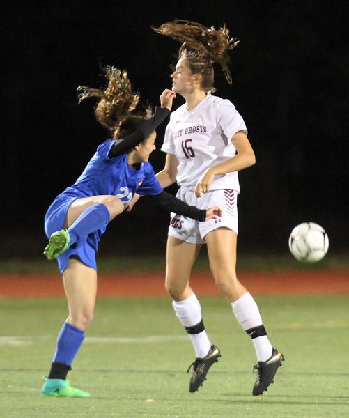 Westford Academy vs Brookline girls soccer in MIAA Division 1 North semifinal. Brookline's Daniela Levy (22) and Sacha Pelosky (16). (SUN/Julia Malakie)