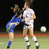 Westford Academy vs Brookline girls soccer in MIAA Division 1 North semifinal. Brookline's Daniela Levy (22) and Sacha Pelosky (16). (SUN/Julia Malakie)