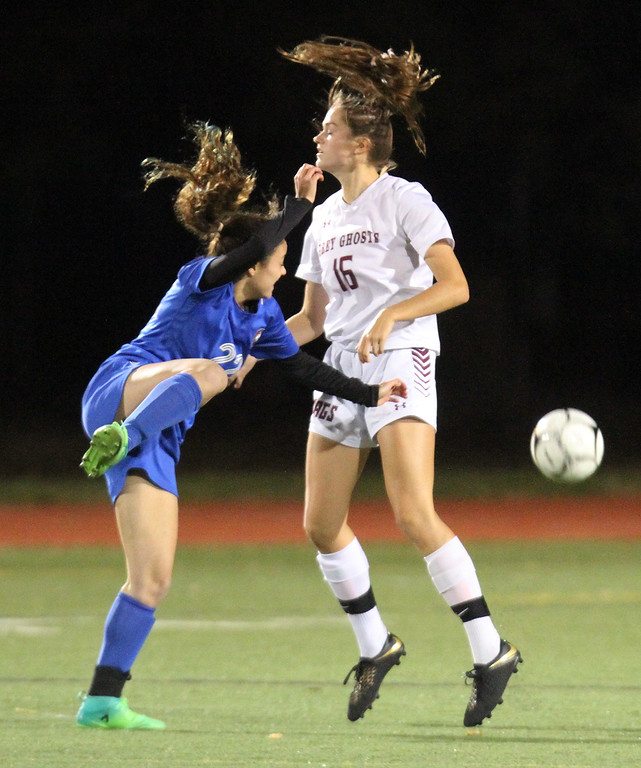 . Westford Academy vs Brookline girls soccer in MIAA Division 1 North semifinal. Brookline\'s Daniela Levy (22) and Sacha Pelosky (16). (SUN/Julia Malakie)