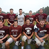 Westford Academy football previews at Robinson School. Leadership team, from left, front: Rory Sullivan, Sean Brown, Matt Acabbo and Justin Quinton. Rear: Garrett Jacobsmeier, Adam Ohanian, Nick Faretra, Timmy McCarthy and Max Bombardieri, and head coach Pat Gendron.  (SUN/Julia Malakie)
