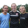 Westford Academy girls soccer practice at Nutting Fields. Captains, from left, Ally Giovino, Bella Hillman, and Brooke Ditcham. (SUN/Julia Malakie)