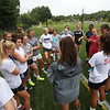 Westford Academy girls soccer practice at Nutting Fields. Coach Katie Andjus talks to the team. (SUN/Julia Malakie)