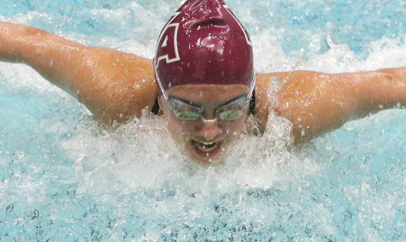 Westford Academy vs Weston swimming and diving. WA's Madison Leong swims butterfly leg of 200 yd medley. (SUN/Julia Malakie)