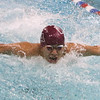 Westford Academy vs Weston swimming and diving. WA's Jerry Xu swims butterfly leg of 200 yd medley. (SUN/Julia Malakie)