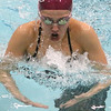Westford Academy vs Weston swimming and diving. WA's Cara Dominici swims breaststroke leg of 200 yd medley. (SUN/Julia Malakie)