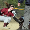 Westford Academy vs Chelmsford softball. Chelmsford's Keira Garrity (7) is safe at second with a double, colliding with WA shortstop Maddy Ferreira (19) in the top of the fourth inning. (SUN/Julia Malakie)